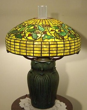 In the Style of Tiffany - Oak Leaf and Acorn Table Lamp