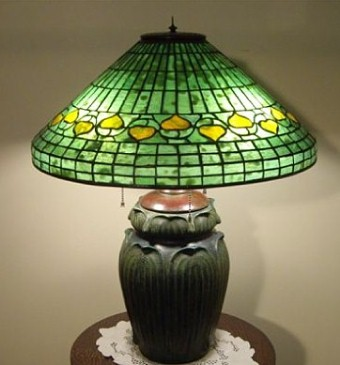 In the Style of Tiffany - Acorn Table Lamp